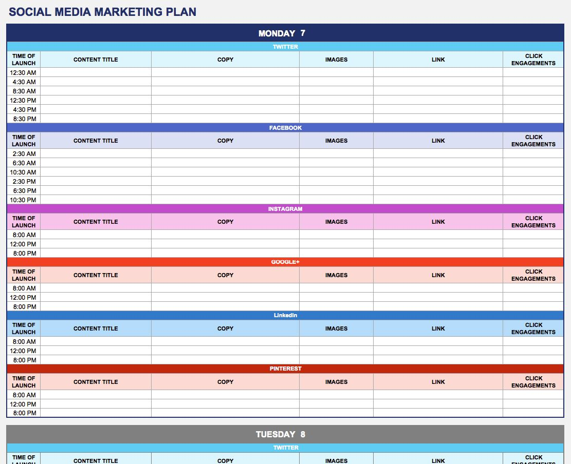 Social Media Marketing Plan Marketing Plan Template Pinterest - Sample marketing calendar