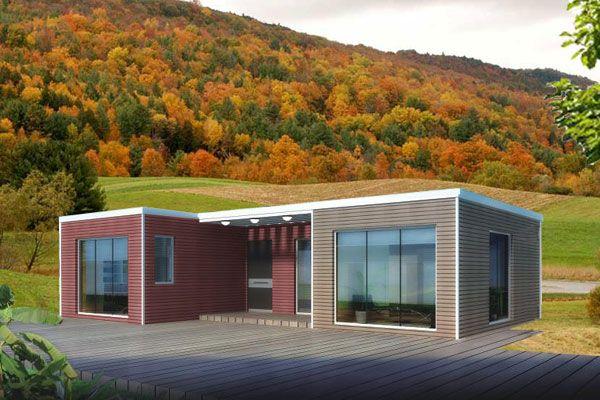 Ba hu maison ossature m tallique l g re modulaire en kit maison bungalow maison ossature for Petit chalet prefabrique