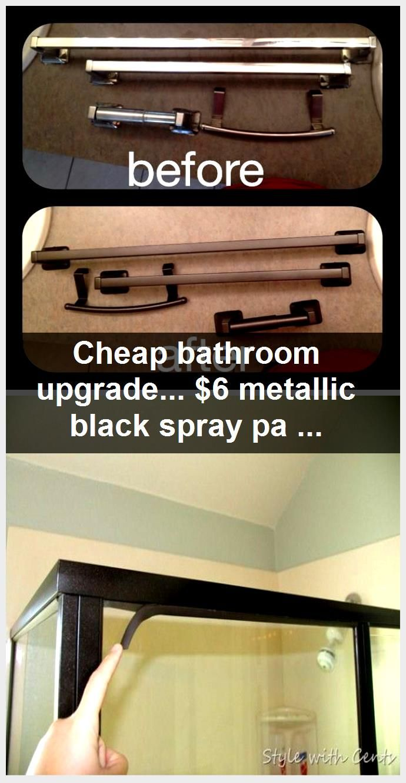 Photo of Cheap bathroom upgrade… $6 metallic black spray paint and old cheap chrome fix…,  #Bathro…