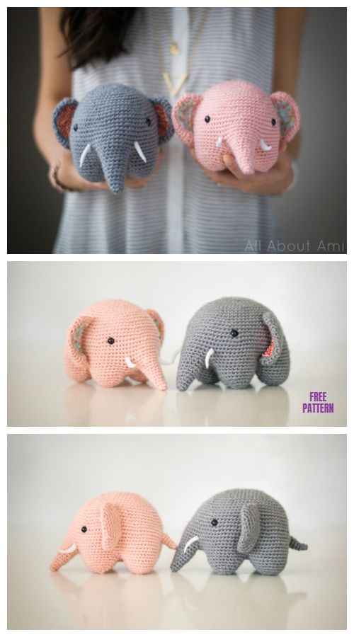 DIY Baby Elephant Crochet Free Patterns & Tutorials #amigurumifreepattern