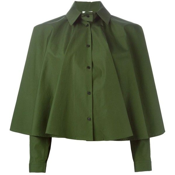 Kenzo A-Line Blouse (2.715 NOK) ❤ liked on Polyvore featuring tops, blouses, green, long sleeve tops, button front blouse, green long sleeve blouse, cotton blouses and long sleeve blouse