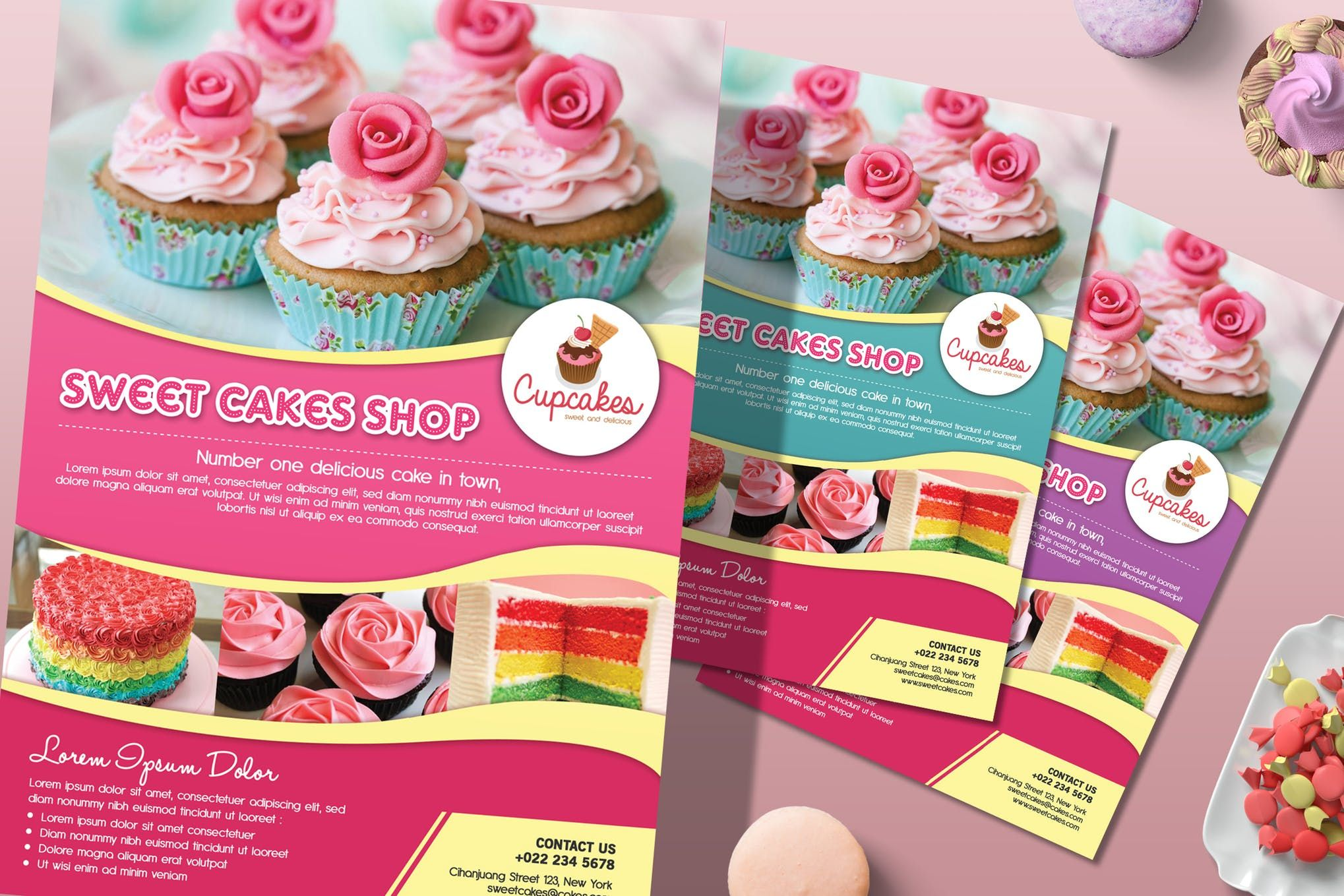 Cake flyer magazine ad template psd in 2020 bake sale