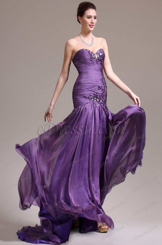 eDressit New Stunning Strapless Sweetheart Neckline Purple Evening Dress Prom Gown (02133906)
