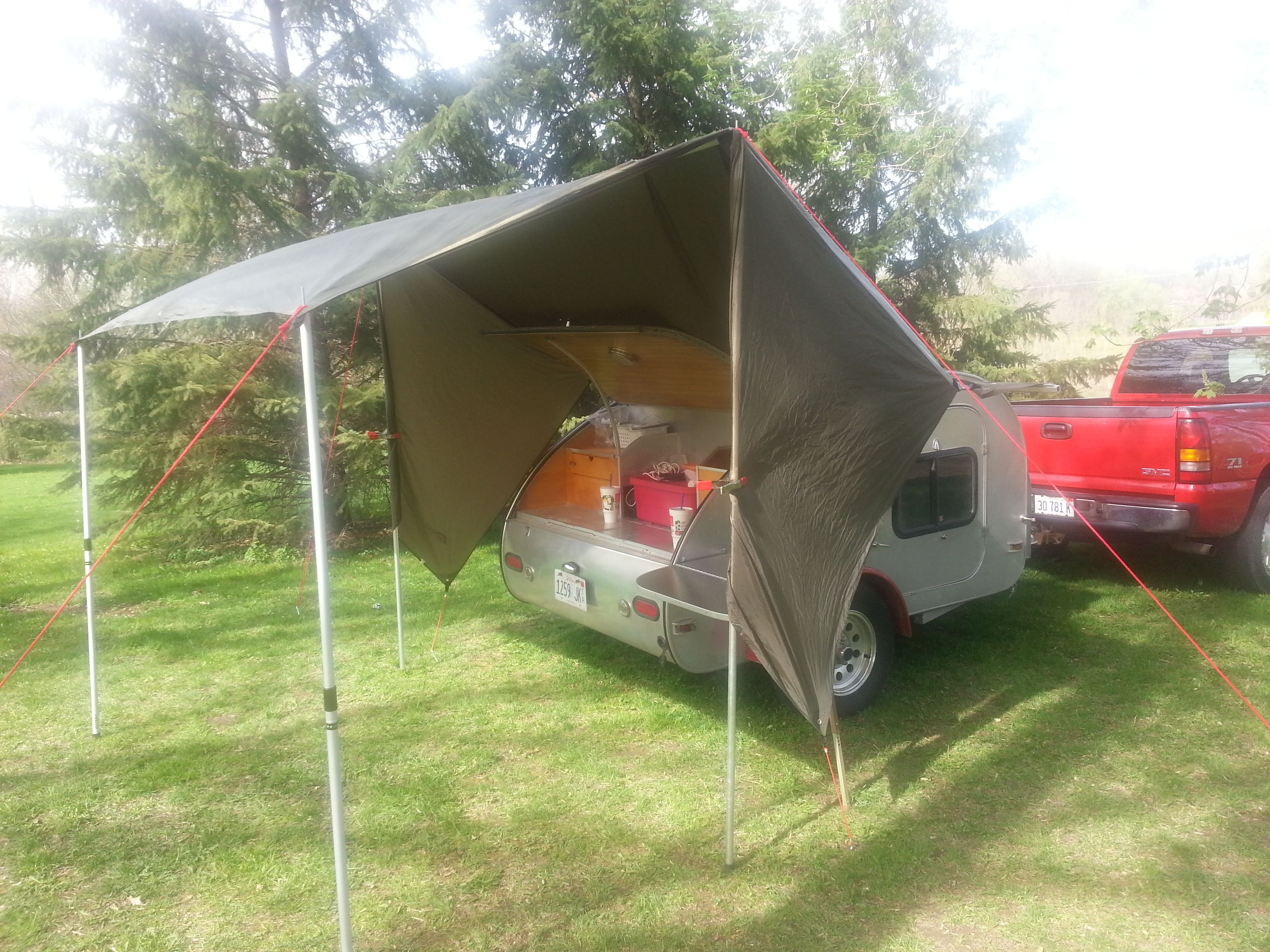 The OzTent Rain Fly Accessory Makes A Perfect Addition To Teardrop Trailer For Galley And