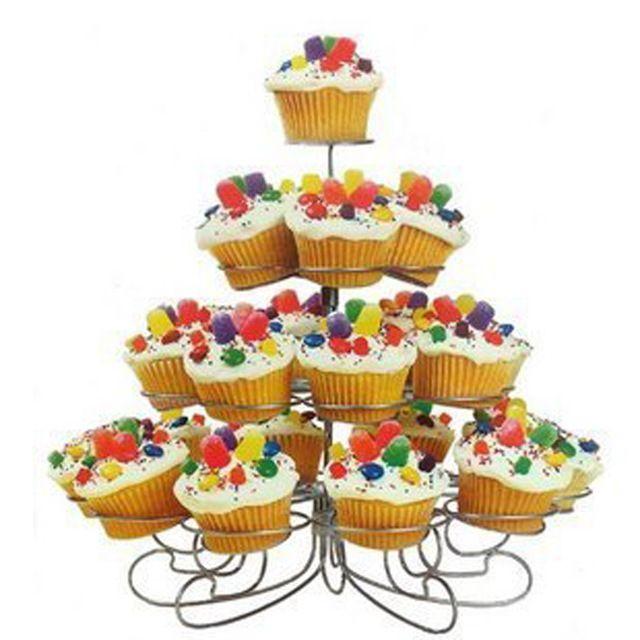 4 Tiers 23 Tazas de la Torta del Acero Inoxidable Sostenedor de la Bandeja de Soporte para el Diseño de Los Árboles de Navidad Fiesta de Cumpleaños de La Magdalena Soporte de la Torta Soporte