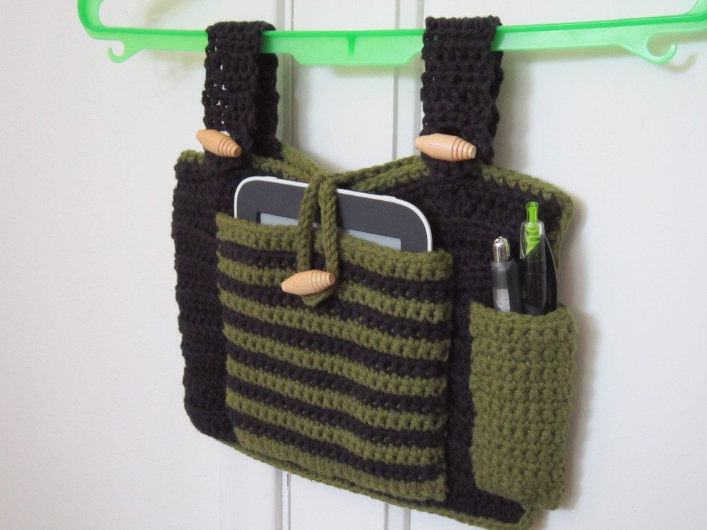 Crocheted Walker Bag Black Green Small Tote Caddy Organizer