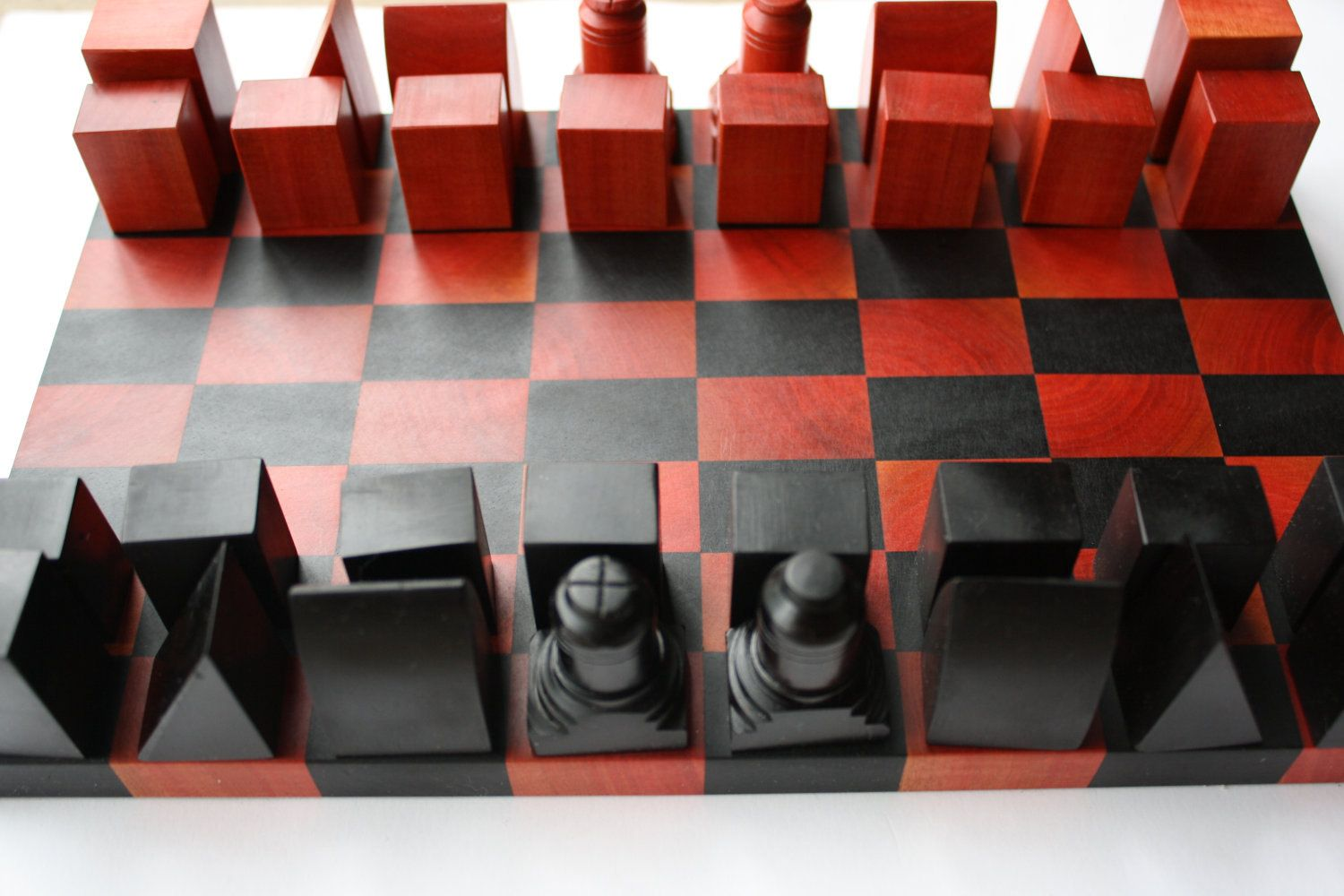 minimalist chess set - pink ivory and african blackwood | chess