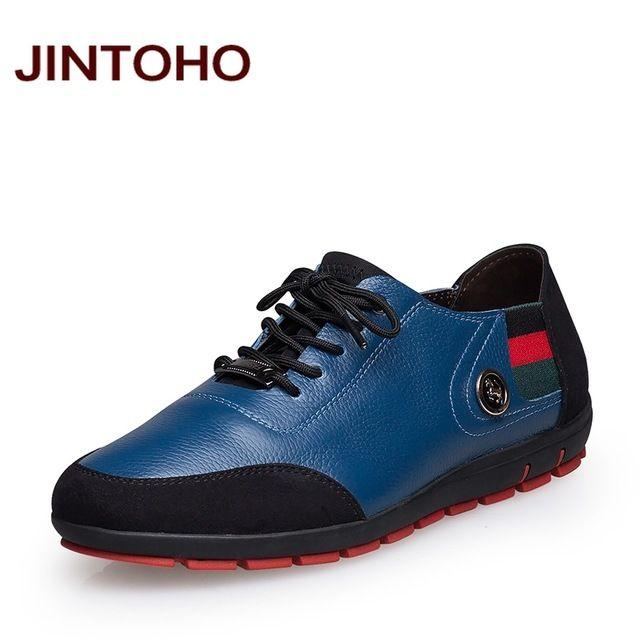 8539969a5 JINTOHO big size 37 47 sapatos masculinos de couro genuíno dos homens moda  casual mocassim de