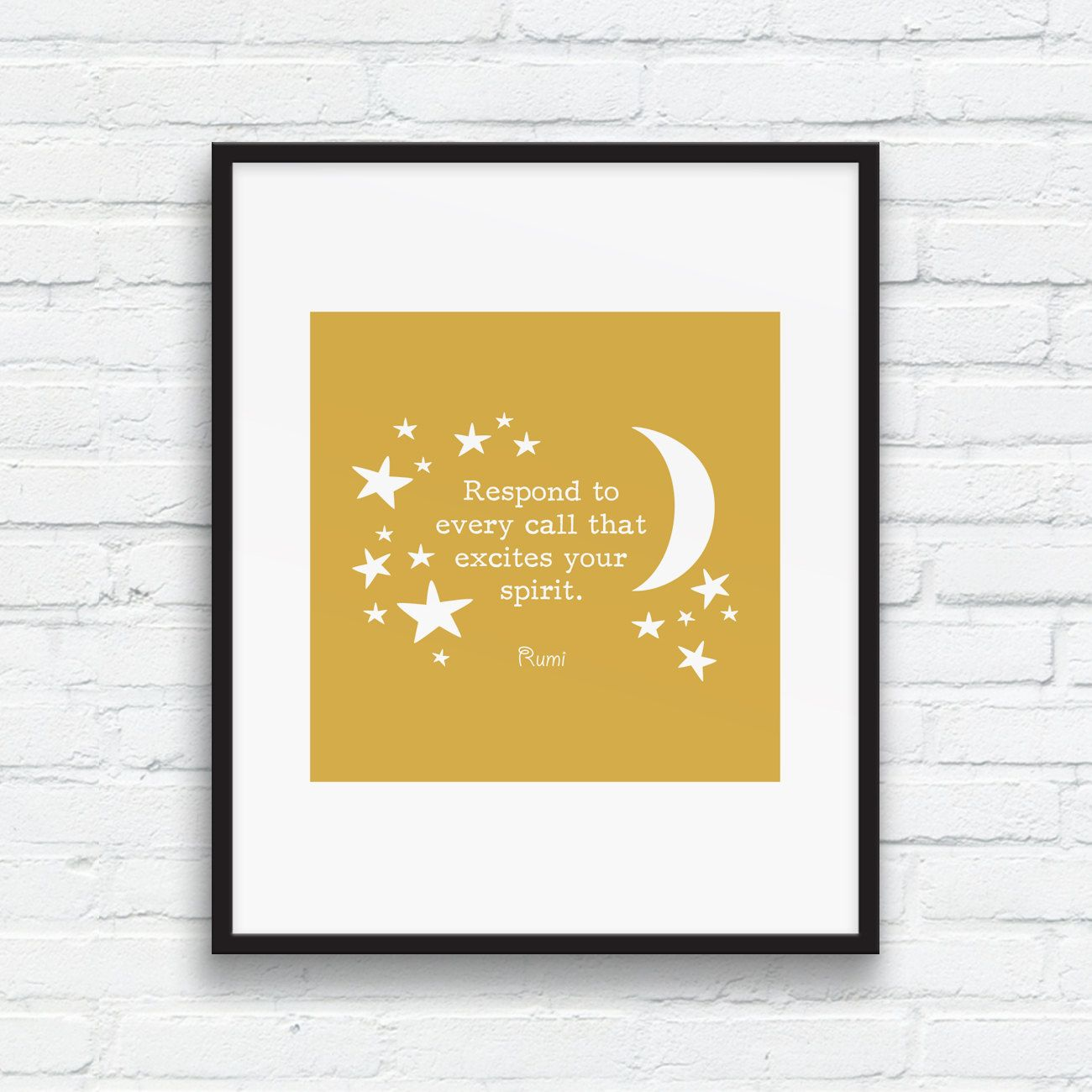 Rumi SPIRIT quote art, Spicy Mustard wall art, Life quote art print ...