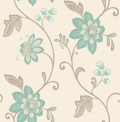 Christina from Albany Conversation (262222) - Brewers Wallpapers - A beautiful floral trail in a weathered hand painted effect. Shown here in duck egg blue, brown trailing with mica highlights on a textured cream background. More colours available. Please request a sample for true colour match.
