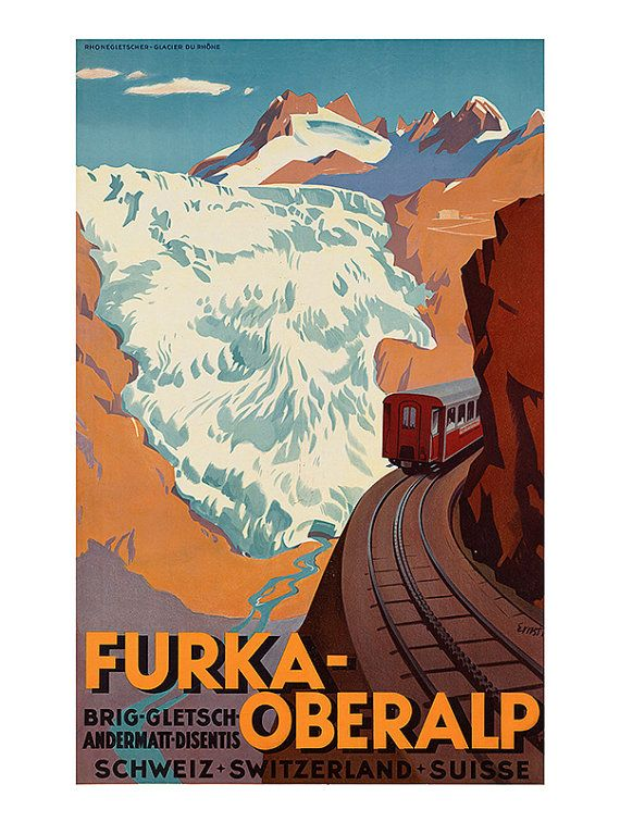 SWISS ALPS TRAVEL Poster Switzerland Travel Poster Art Deco Poster 1920/'s Poster
