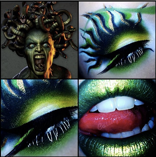 medusa makeup, love the eye makeup but not a fan of the whole face