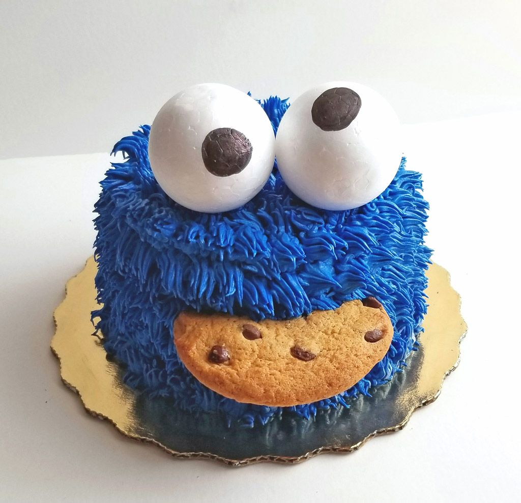 Diy Cookie Monster Smash Cake With Images Monster Smash Cakes