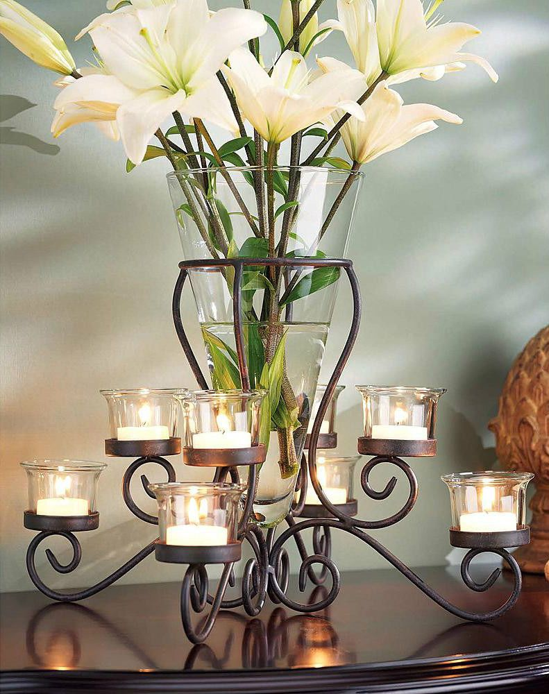 Tealight flower vase candle holder table centerpiece set glass elegant wrought iron tabletop tealight candle holder vase centerpiece for reviewsmspy