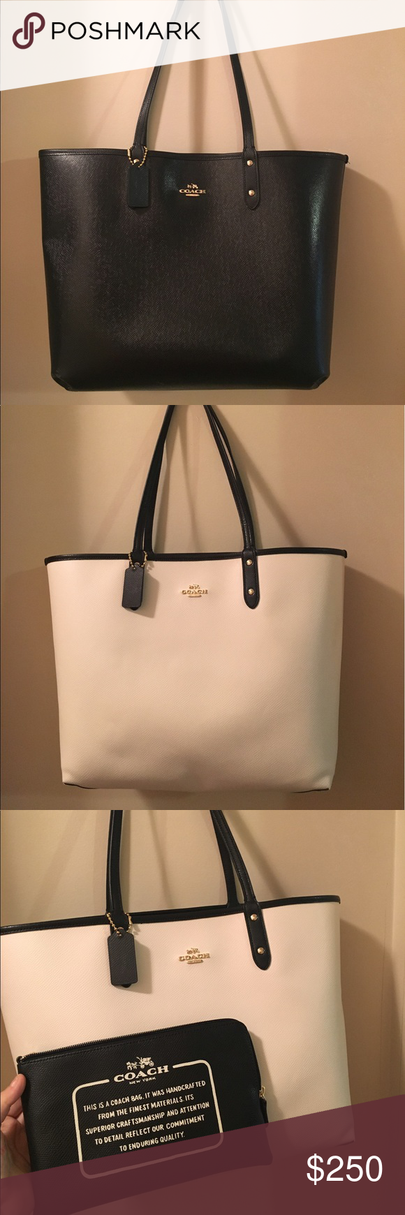 75a1c1ec1f 3 in 1 coach reversible tote Beautiful white and black leather tote bag  that is reversible