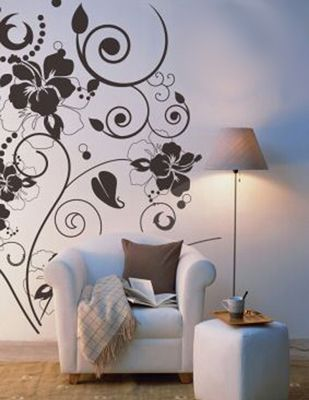 decorative flower vine wall stencils idea fantastic decorations with beautiful floral wall stencils idea - Designs For Walls