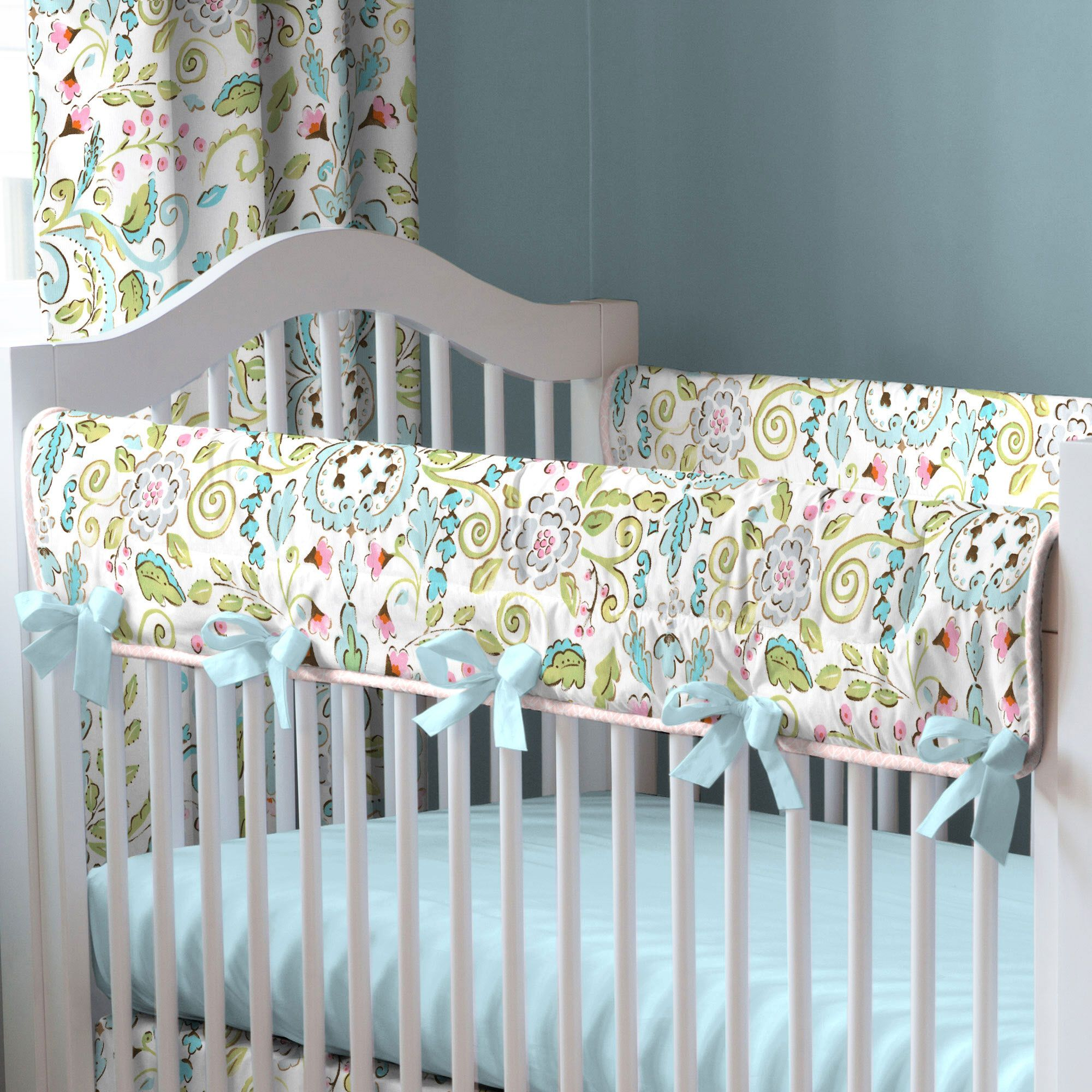 Love Birds Crib Rail Cover carouseldesigns Crib bedding