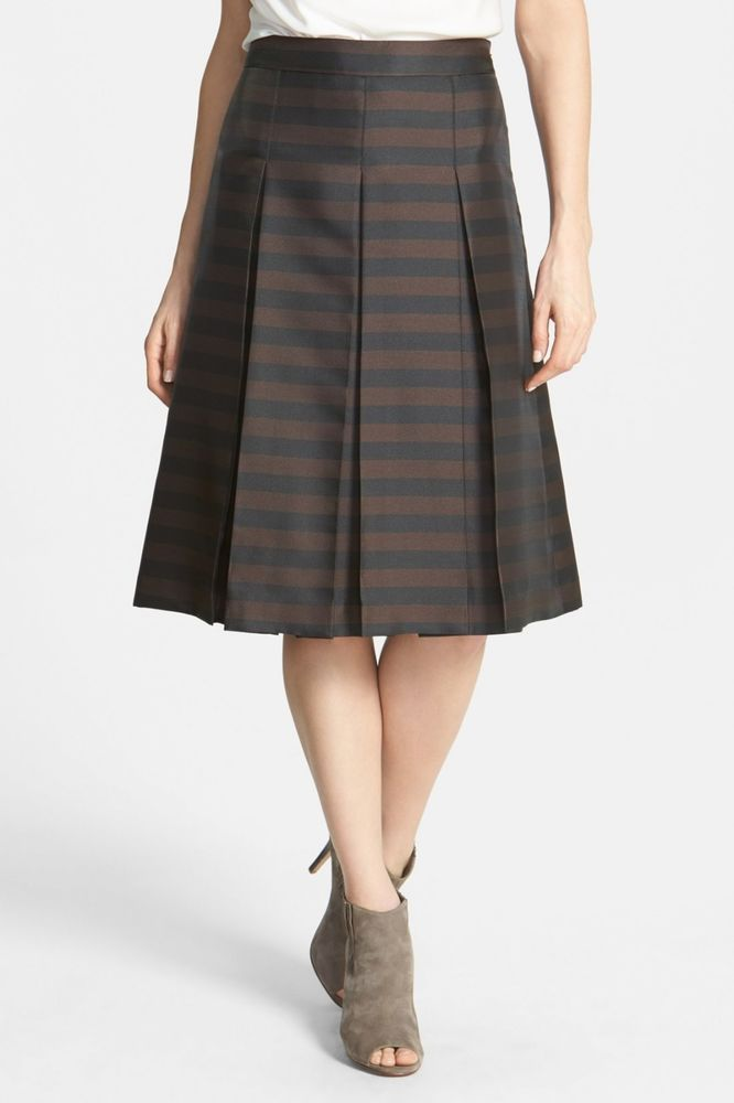 Halogen Pleat Midi Striped a Skirt Black and Brown Size 0 NWT #Halogen…