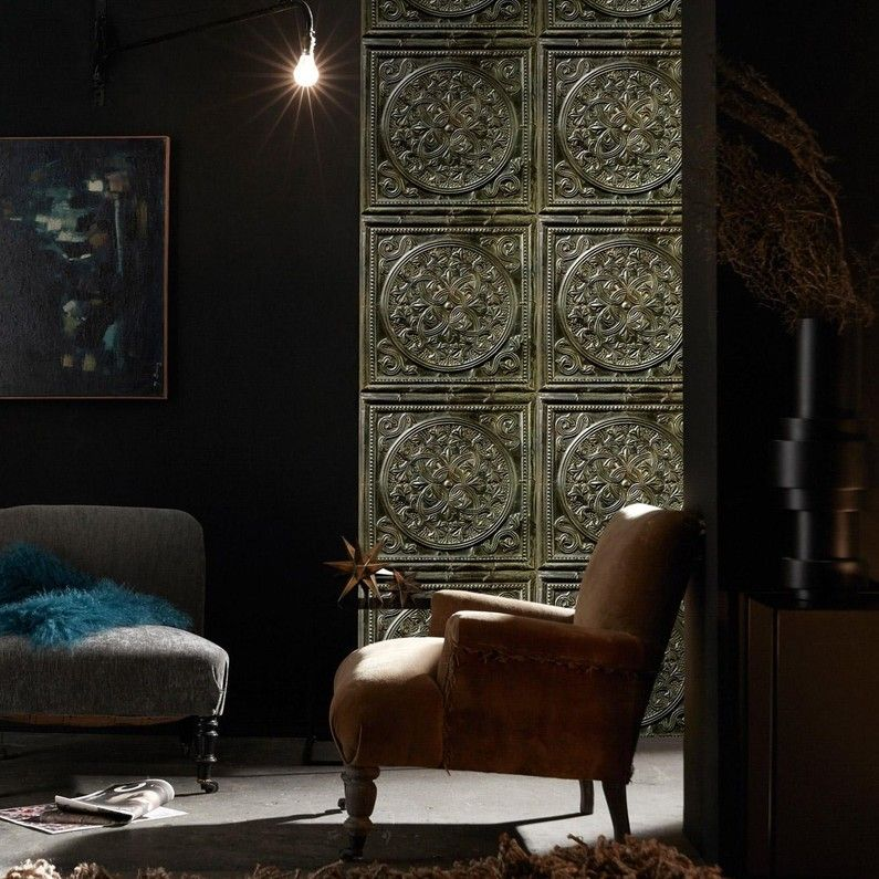 Papier Peint Vinyle Plaques Victoriennes Henri Bronze Leroy Merlin Ma Deco Victorienne In 2019 Tile Wallpaper Tin Tiles Accent Chairs