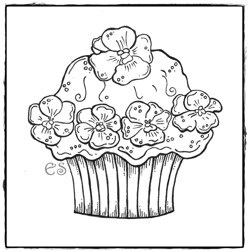 cute cupcake coloring pages - Cupcakes Coloring Pages Printable