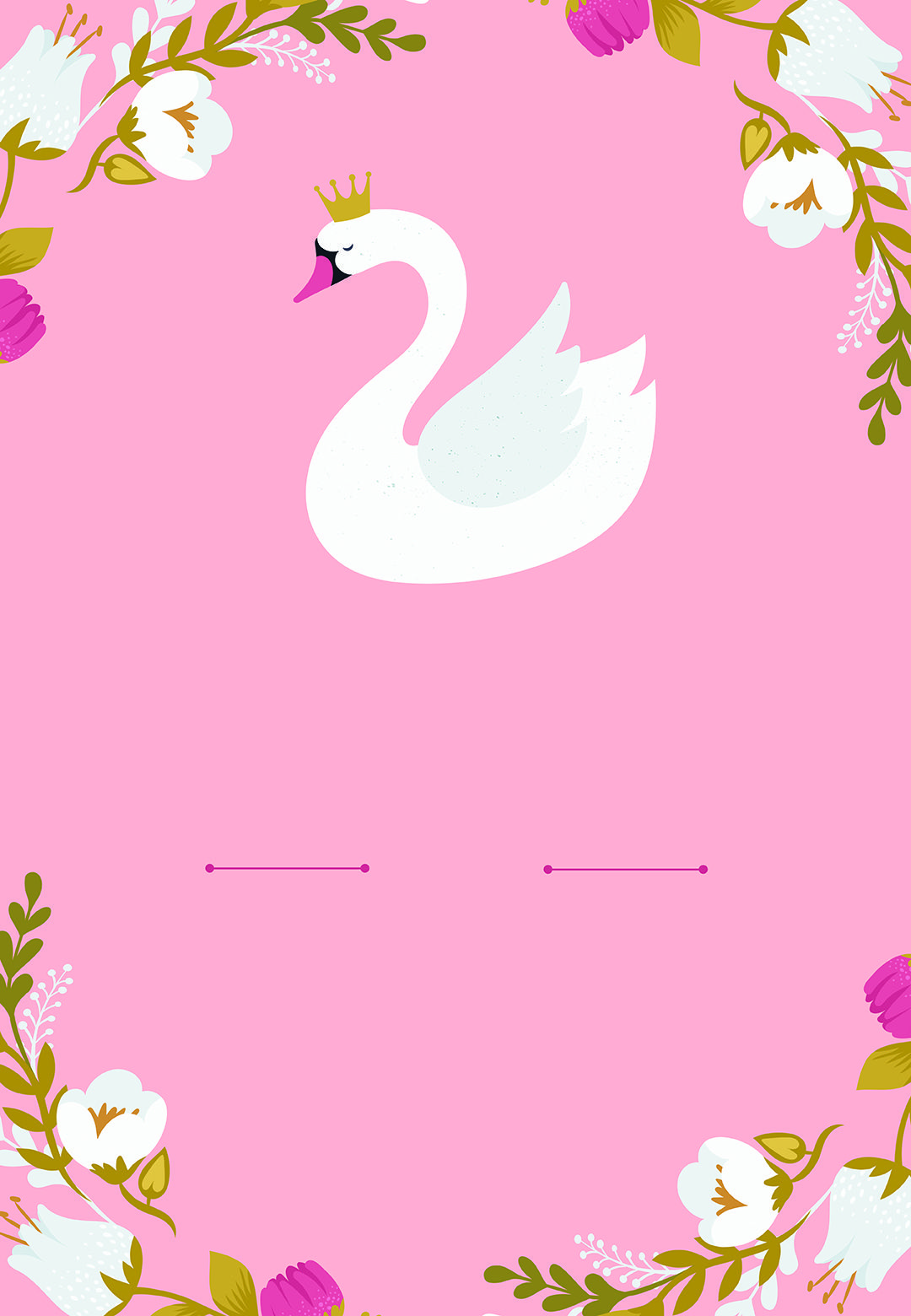Princess Swan Birthday Invitation Template Free In 2019
