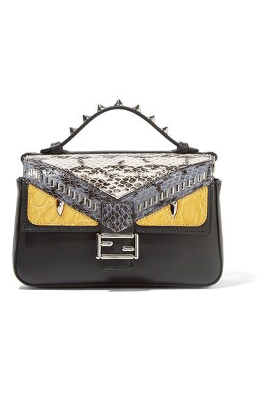 fd3affc1f9 Fendi - Double Baguette Micro Elaphe And Crocodile-paneled Leather Shoulder  Bag - Black