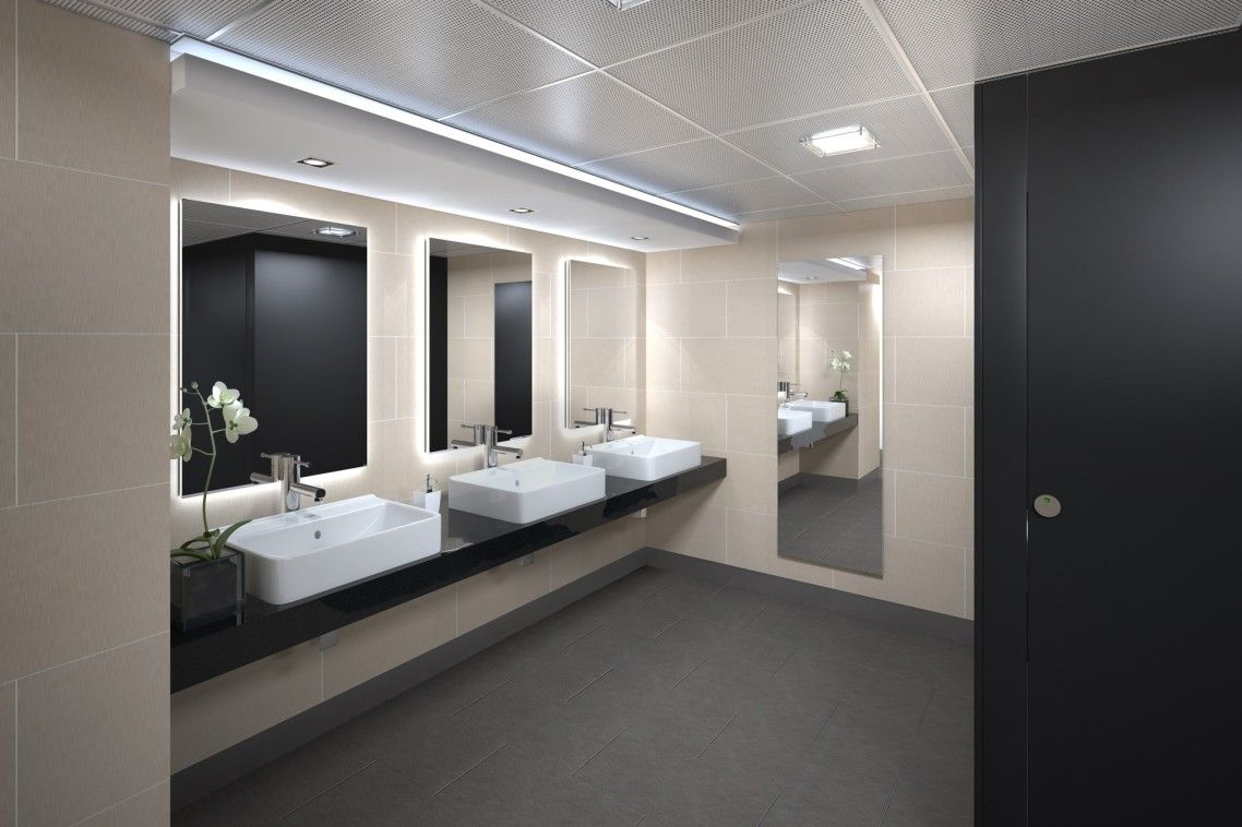 appealing modern bathroom tile designs   Appealing Commercial Bathroom Design With White Three ...