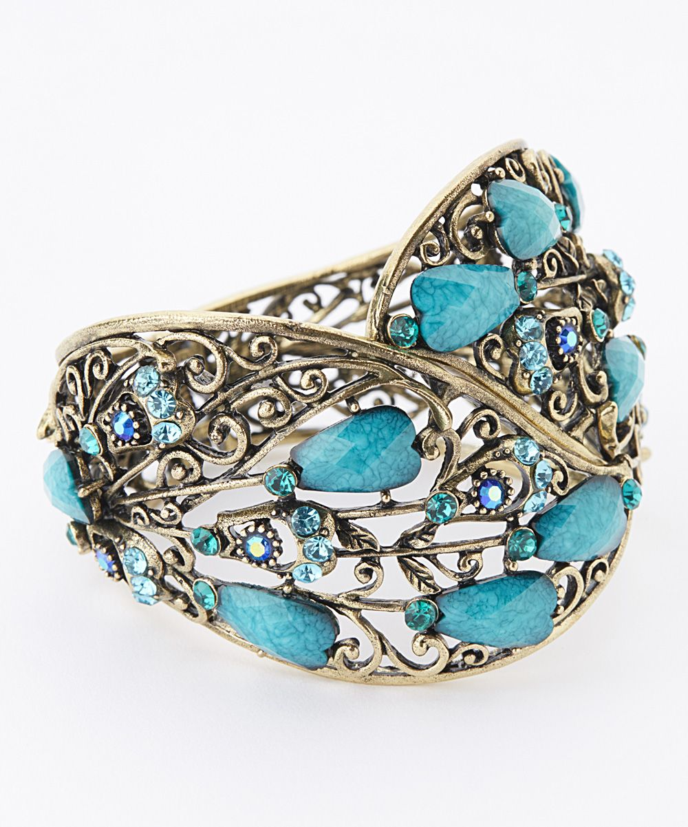 Peacock Blue Rhinestone Hinge Bangle