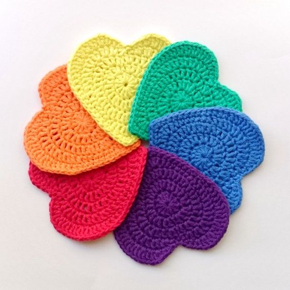 Items Similar To Crochet Coasters, Crochet Rainbow, Crochet Heart,  Decorative Coasters, LGBT Home Décor, Gay Friendly Décor, Gay Pride, Unique  Gift, ...