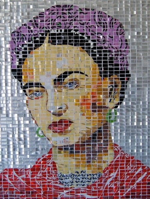 Phoenix-based artist Emily Costello made this portrait of Frida Kahlo out of (apparently) pieces of aluminum cans. It currently hangs in the Halperin & Lake Collection. She plans to create a similar portrait of a Mexican wrestler.