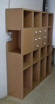 rangement en carton card board pinterest cardboard furniture cardboard crafts y diy. Black Bedroom Furniture Sets. Home Design Ideas