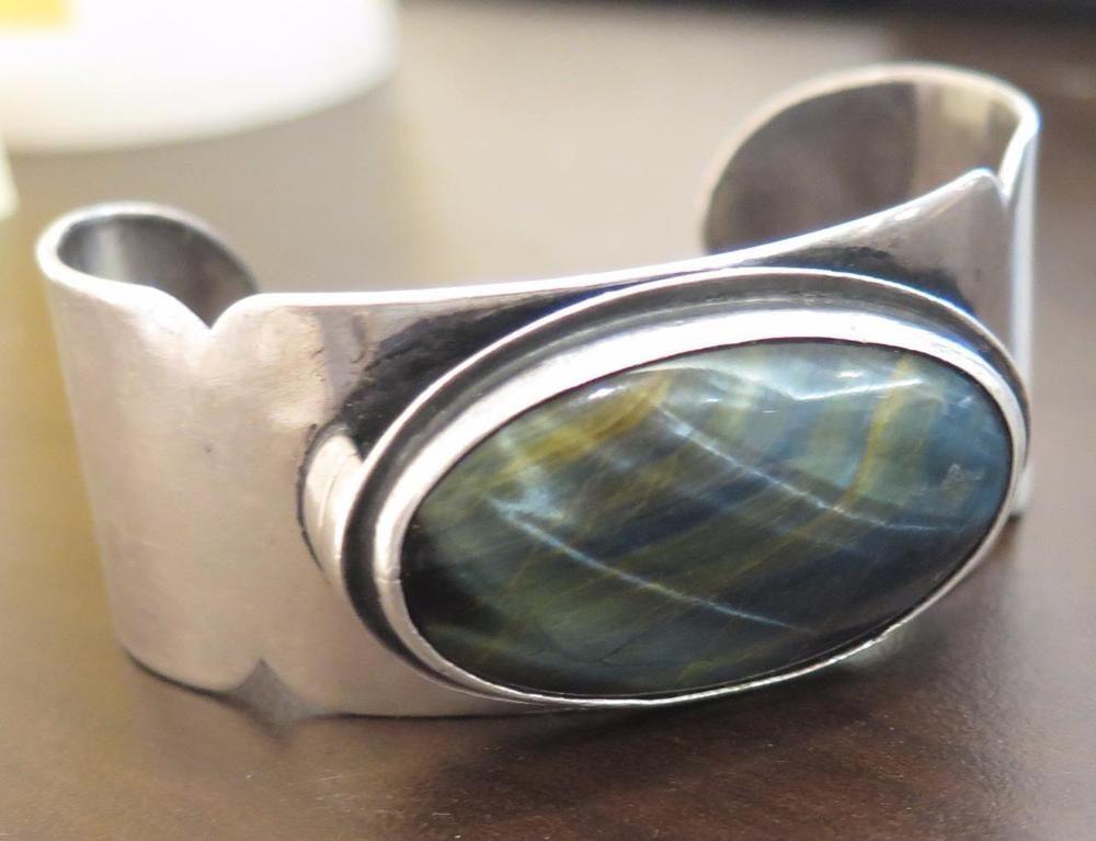 RARE Erik Magnussen CALIFORNIA Art Deco Cats Eye Sterling Silver Cuff Bracelet #ErikMagnussen #Cuff