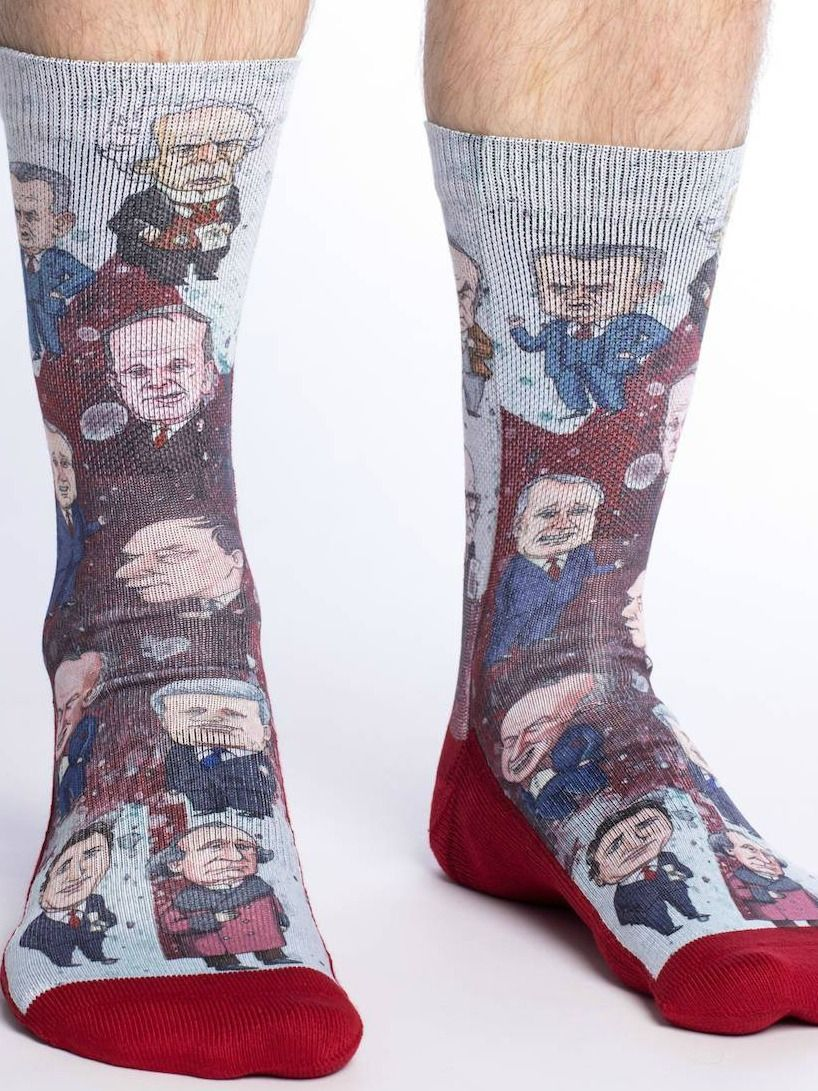 Canadian prime ministers print socks sizes 813 just
