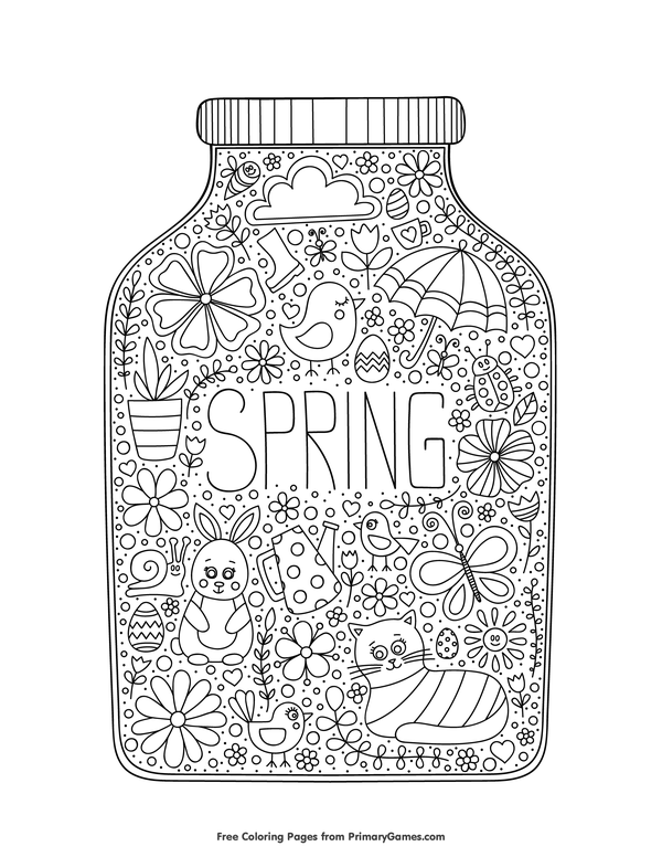 Free Printable Spring Coloring Pages EBook For Use In Your Classroom Or Home From PrimaryGames Print And Color This A Jar Page