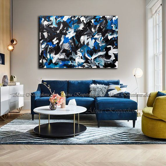 Navy Blue Abstract Sea Abstract Small Abstract Art Print Sea Abstract Painting Waves Impas Blue Living Room Decor Blue Couch Living Room Blue Sofas Living Room