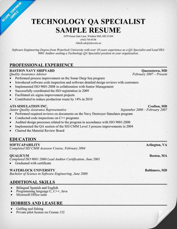 Technology QA Specialist Resume (resumecompanion) Resume - qa engineer resume