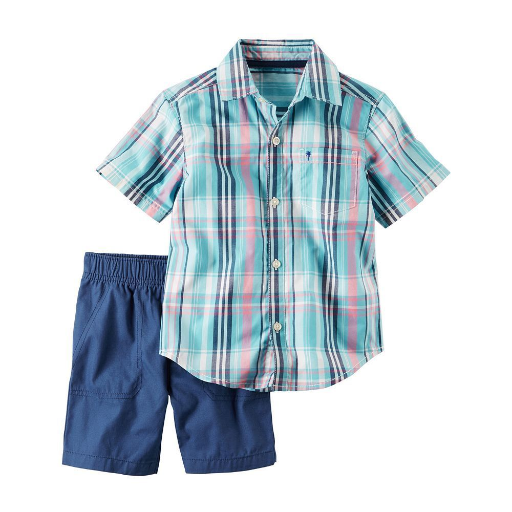 Flannel shirt for baby boy  Baby Boy Carterus Plaid Shirt u Solid Shorts Set Size  Months