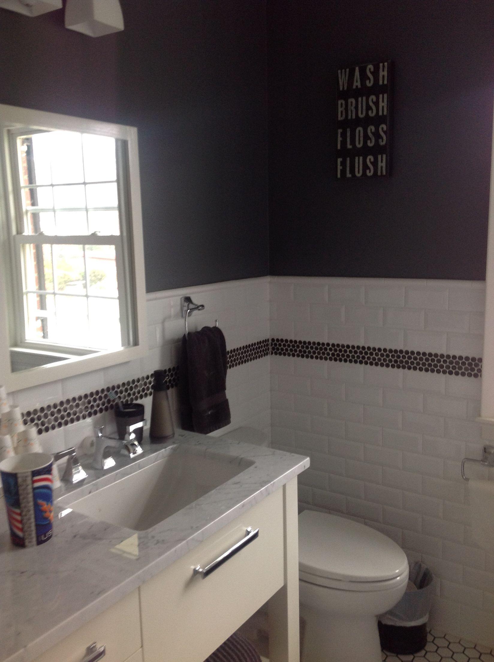 Metal Penny Round Border. Boys Bath. Retro Bathroom. Classic Bathroom. NJ  Tile Showroom Design With Tile