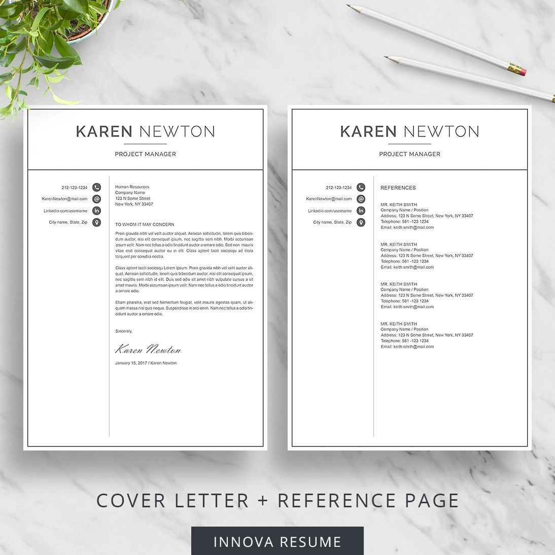 Resume Reference Page Template Modern Resume Template For Word  Minimalist Resume Design  2