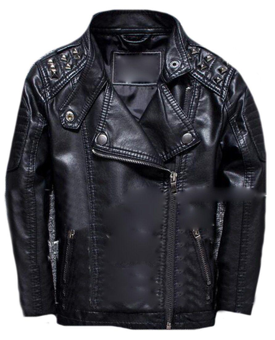 40b139dbf9ea Zago Fashion Baby Boy Stand Collar Lightweight Faux Leather Zip ...