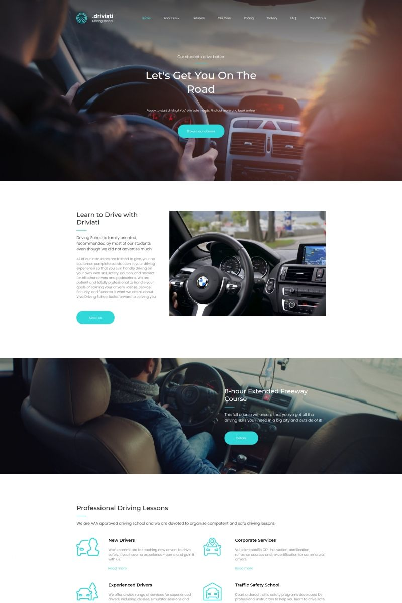 driving school premium moto cms 3 template new website templates