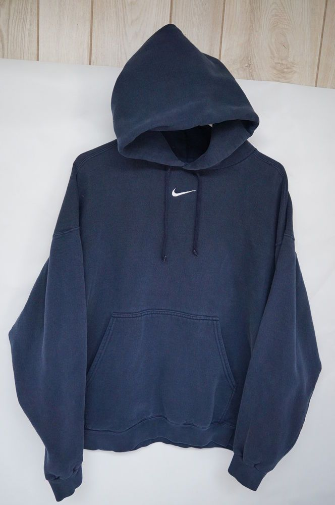 Vintage Nike Navy Blue Hoodie Sweatshirt Cotton Blend Swoosh Made In Usa Sz Xl Clothes Sweatshirts Hoodie Navy Blue Hoodie