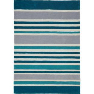 Stripe Rug 170 X 120cm Teal At Argos Co Uk Your