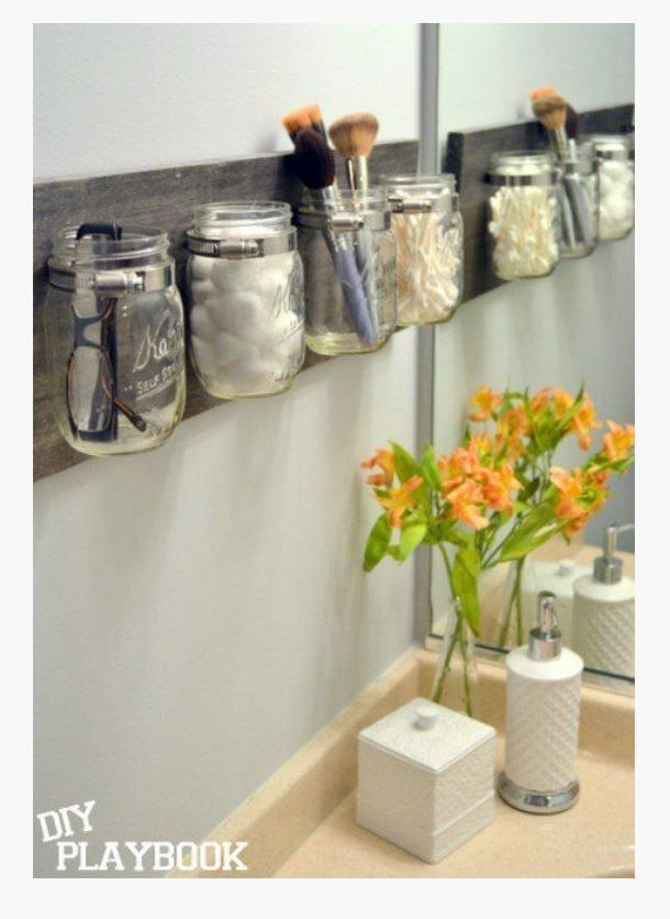 How To Create An Easy Diy Mason Jar Organizer Mason Jar Organization Mason Jar Diy Home Projects