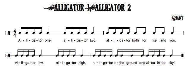 Folk Songs with Sixteenth Notes | Exclusive New Music....  IIII I IIII I ..... IIII II II I .... Alligator 1  Alligator 2.