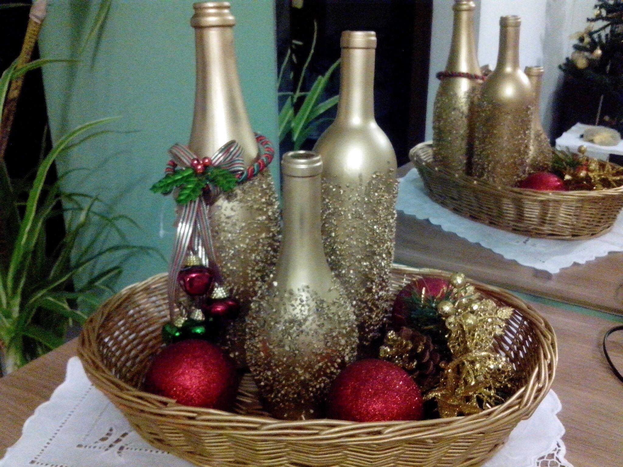 Aparador Sala Ikea ~ Garrafas Natalinas garrafas Pinterest Garrafas decoradas, Natal e Pote vidro