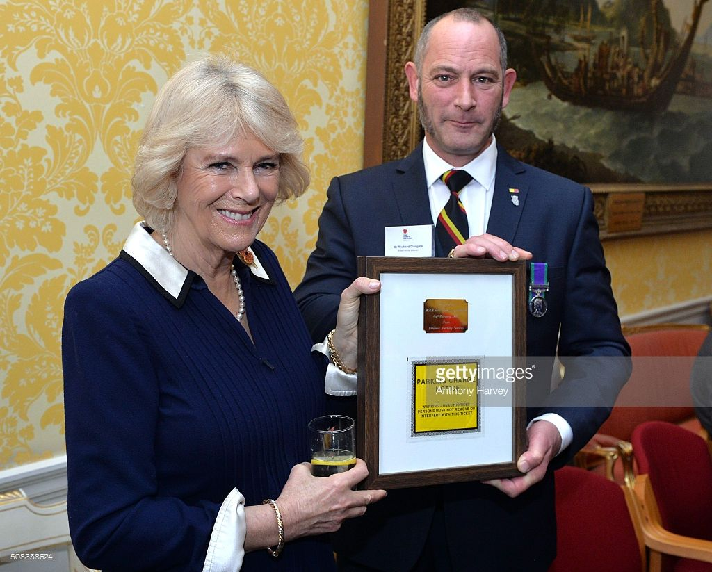 The Duchess of Cornwall attends a reception, in her role as Patron of The Poppy Factory, to mark the charity's work in placing 500 wounded, sick and disabled veterans into emplyment at Admirality House on February 4, 2016 in London, England.  (Photo by Anthony Harvey/Getty Images)