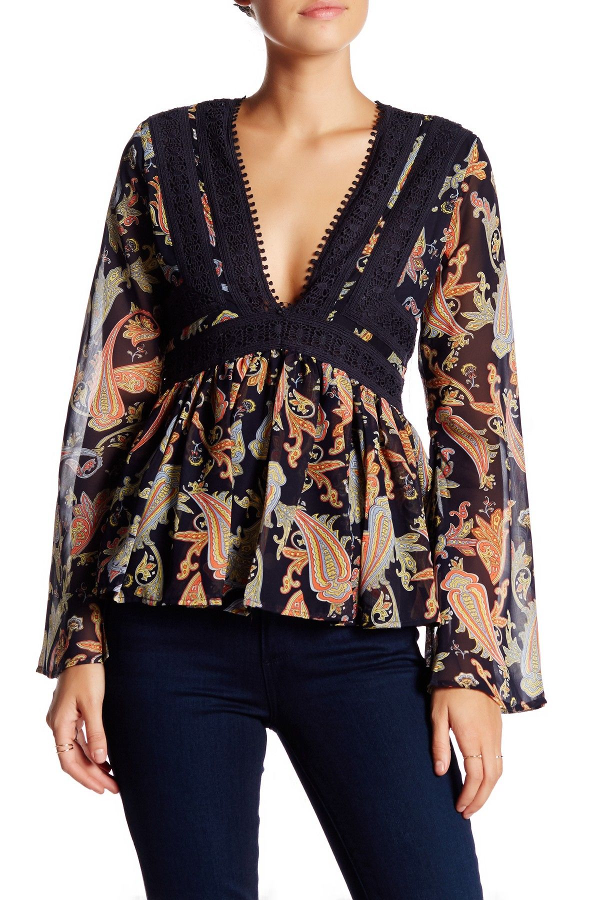 Long Sleeve Peplum Blouse by Romeo & Juliet Couture on @nordstrom_rack