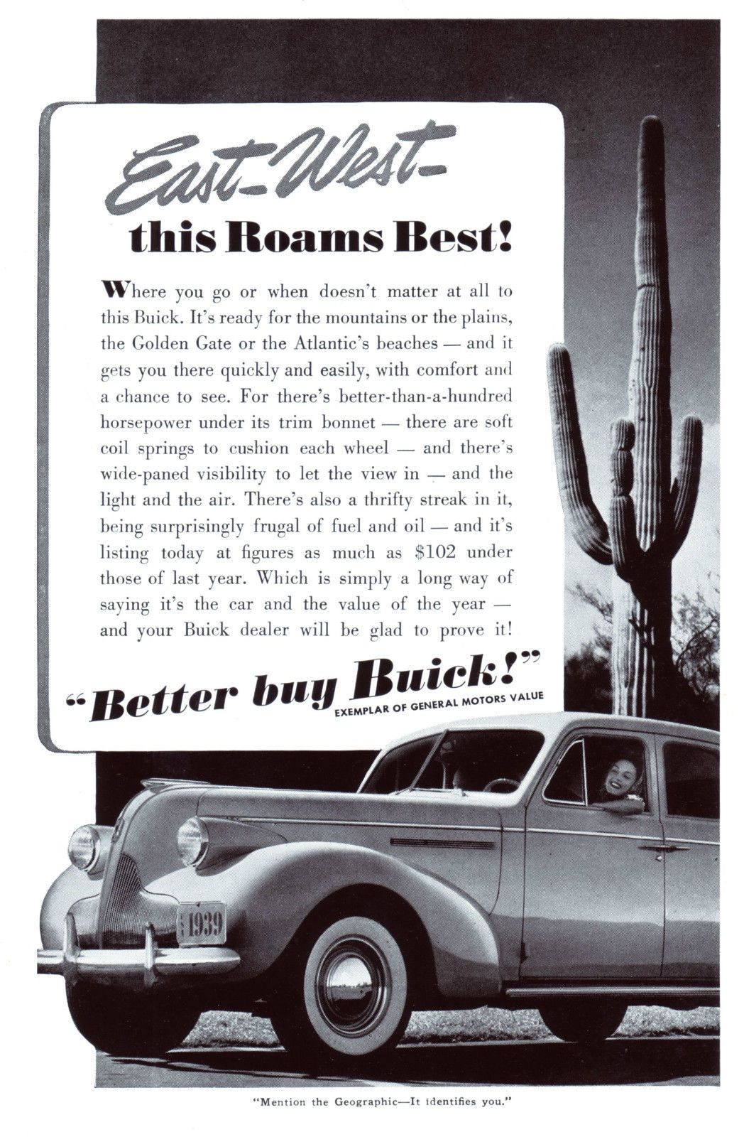 Original-Werbung/Anzeige (USA) 1939 - BUICK CARS / GENERAL MOTORS ...