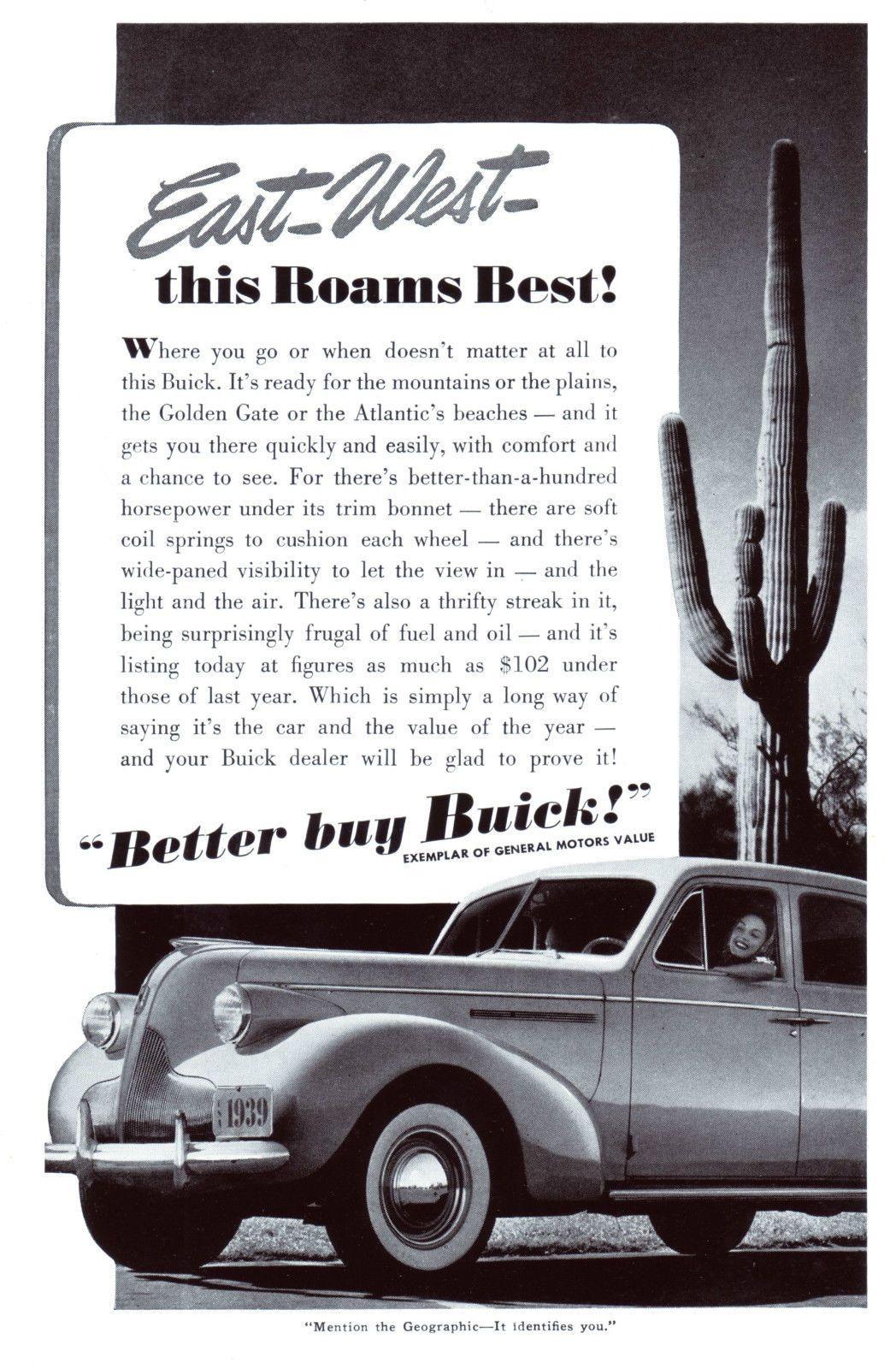 Original-Werbung/Anzeige (USA) 1939 - BUICK CARS / GENERAL MOTORS ...
